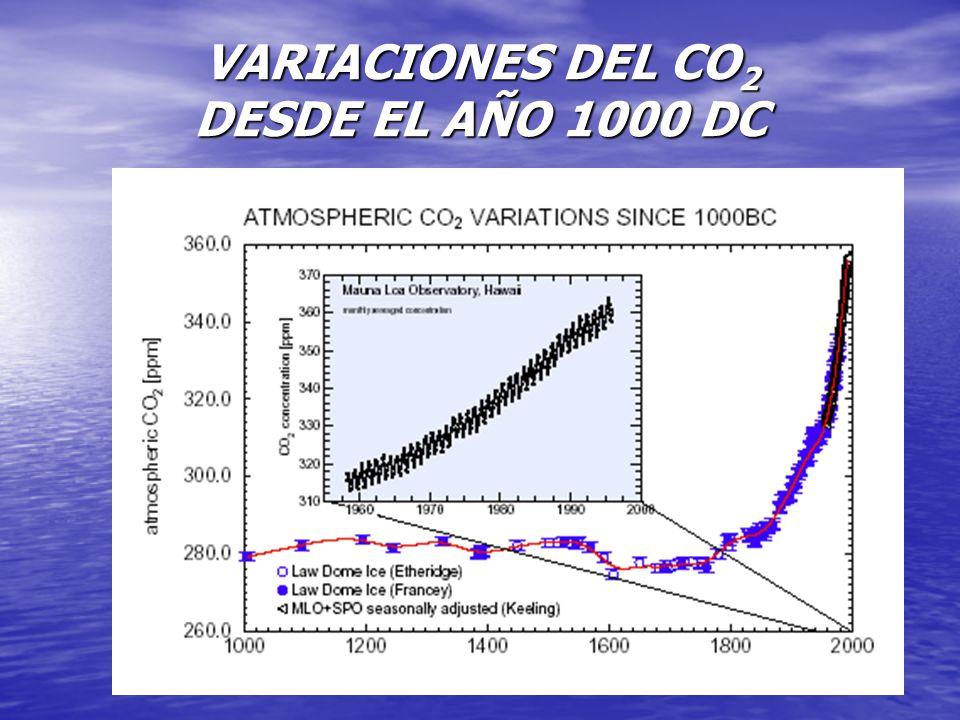 VARIACIONES DEL CO 2 DESDE EL AÑO 1000 DC