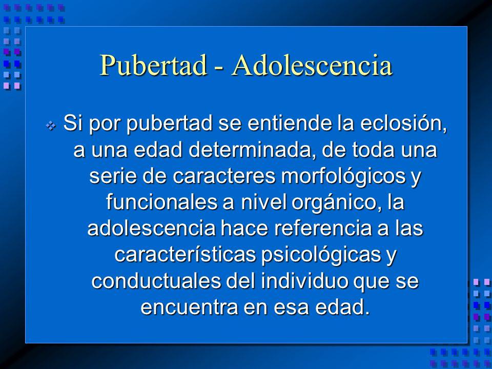 Si por pubertad se entiende la eclosión, a una edad determinada, de toda una serie de caracteres morfológicos y funcionales a nivel orgánico, la adolescencia hace referencia a las características psicológicas y conductuales del individuo que se encuentra en esa edad.
