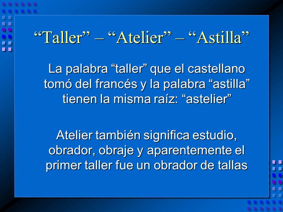 La palabra taller que el castellano tomó del francés y la palabra astilla tienen la misma raíz: astelier Atelier también significa estudio, obrador, obraje y aparentemente el primer taller fue un obrador de tallas Taller – Atelier – Astilla