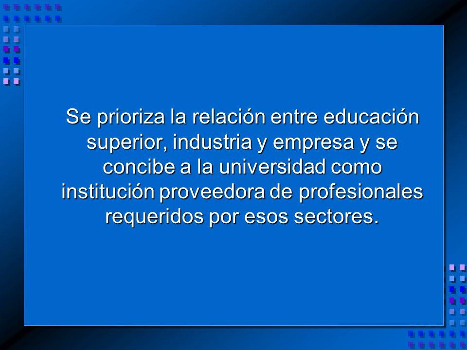 Se prioriza la relación entre educación superior, industria y empresa y se concibe a la universidad como institución proveedora de profesionales requeridos por esos sectores.
