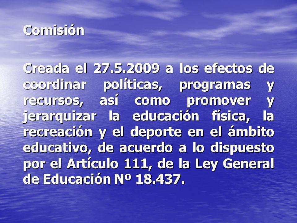 Comisión Creada el 27.5.2009 a los efectos de coordinar políticas, programas y recursos, así como promover y jerarquizar la educación física, la recre