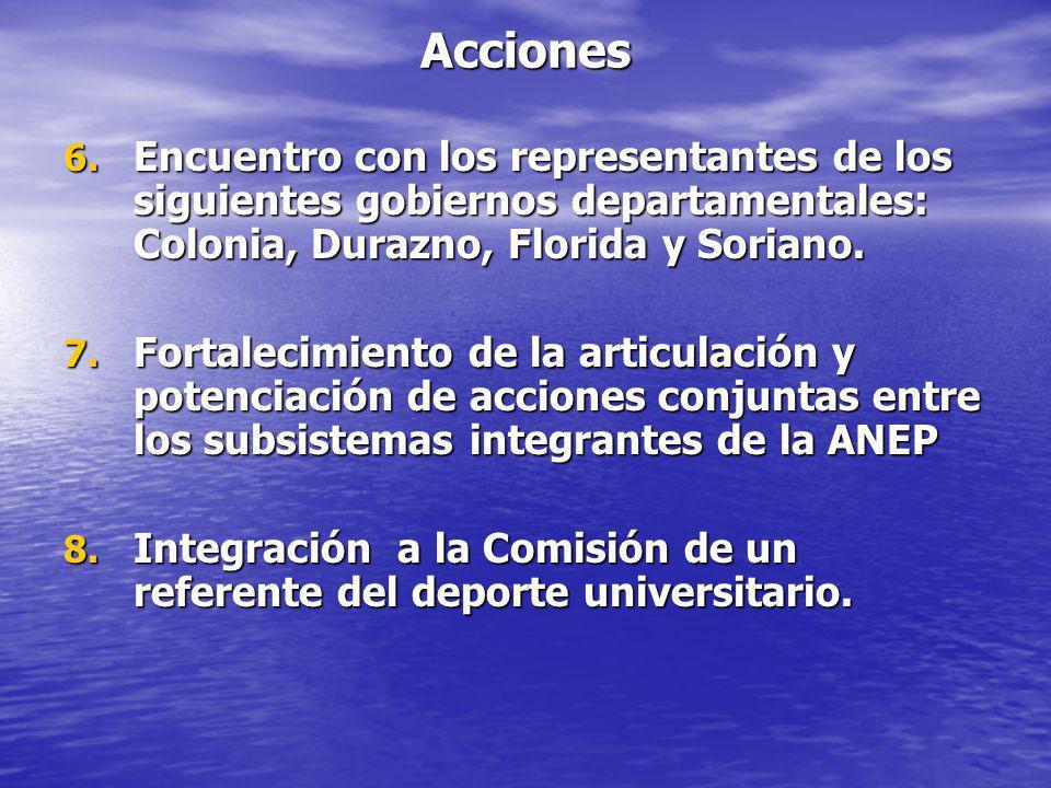 Acciones 6. Encuentro con los representantes de los siguientes gobiernos departamentales: Colonia, Durazno, Florida y Soriano. 7. Fortalecimiento de l