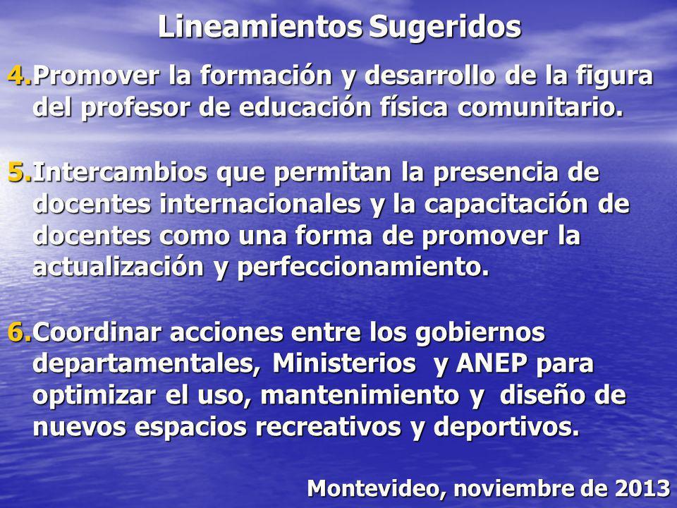 Lineamientos Sugeridos 4.Promover la formación y desarrollo de la figura del profesor de educación física comunitario. 5.Intercambios que permitan la