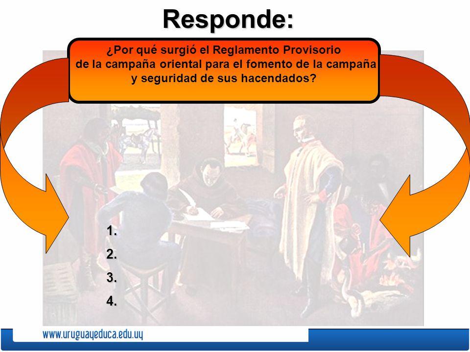 Responde:1.2.3.4. ¿Por qué surgió el Reglamento Provisorio de la campaña oriental para el fomento de la campaña y seguridad de sus hacendados?