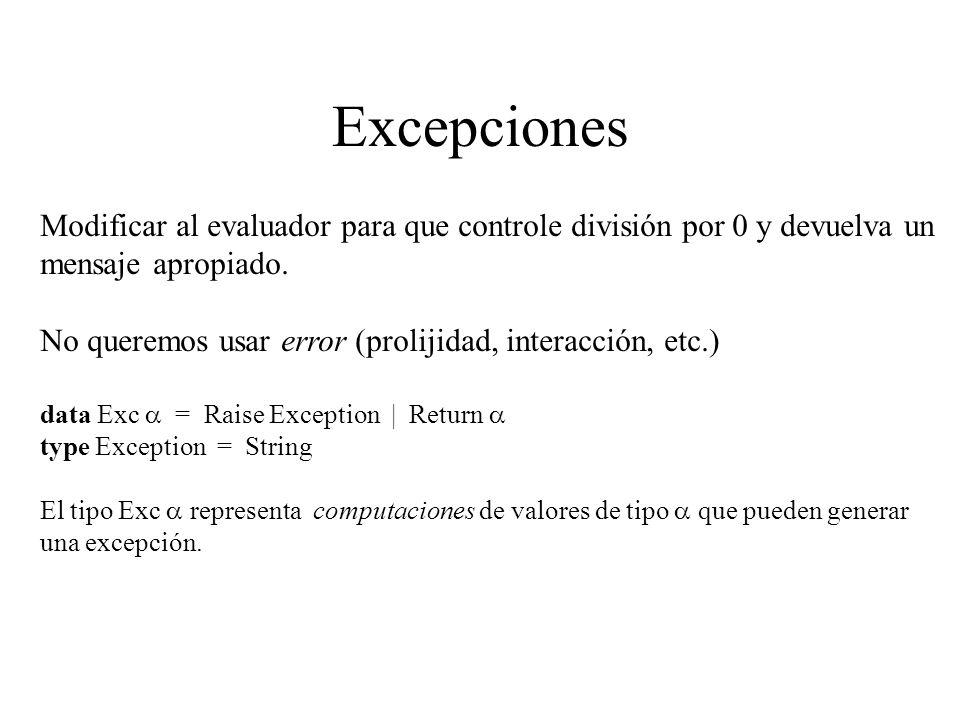 Excepciones Modificar al evaluador para que controle división por 0 y devuelva un mensaje apropiado. No queremos usar error (prolijidad, interacción,