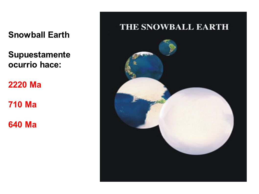 Snowball Earth Supuestamente ocurrio hace: 2220 Ma 710 Ma 640 Ma