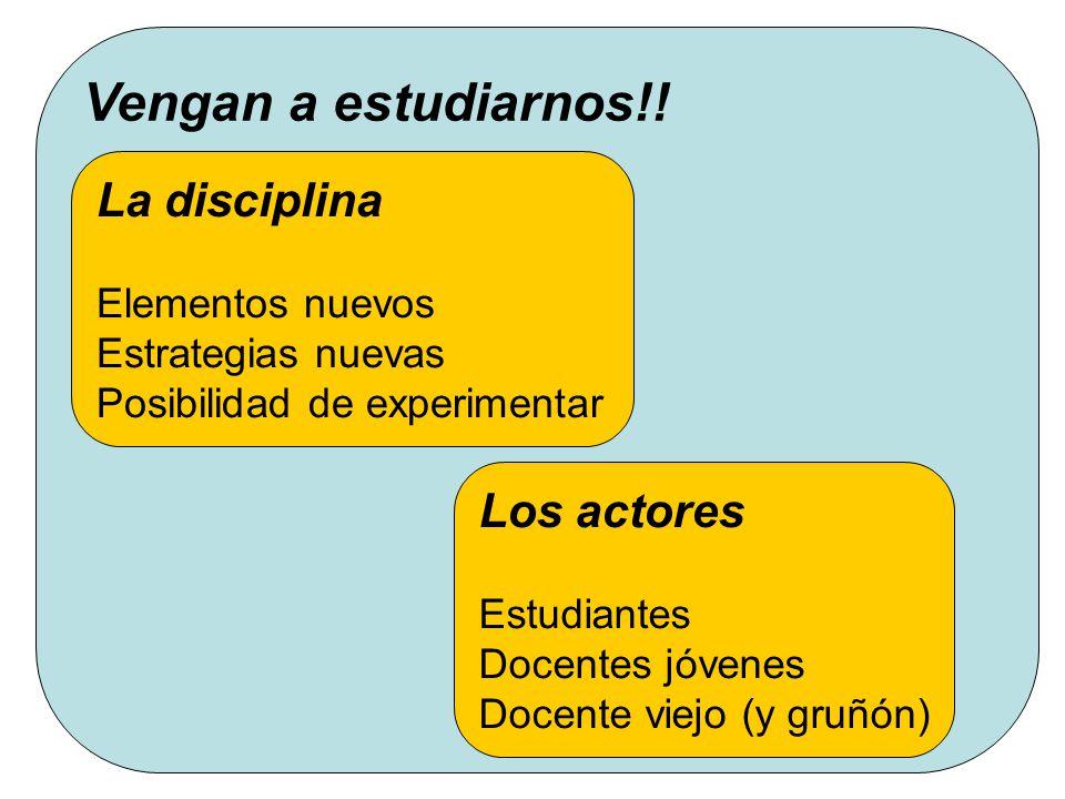 Programa de Apoyo al Profesorado de Informática - 1er Seminario de Divulgación y Cooperación Propuesta Vengan a estudiarnos!! La disciplina Elementos