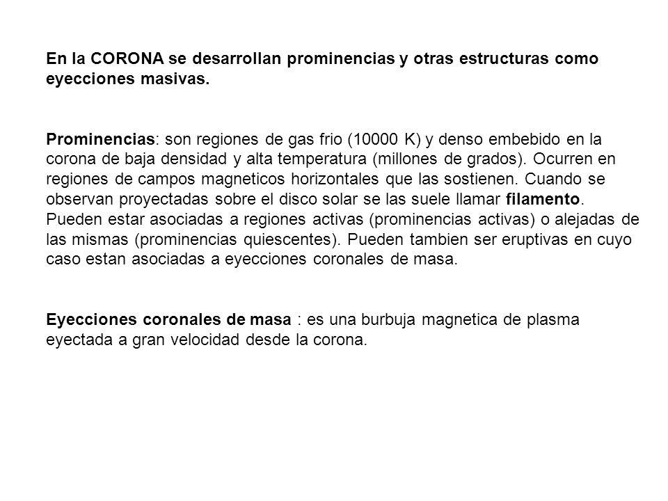 En la CORONA se desarrollan prominencias y otras estructuras como eyecciones masivas. Prominencias: son regiones de gas frio (10000 K) y denso embebid