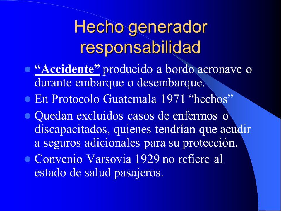 Hecho generador responsabilidad Accidente producido a bordo aeronave o durante embarque o desembarque. En Protocolo Guatemala 1971 hechos Quedan exclu