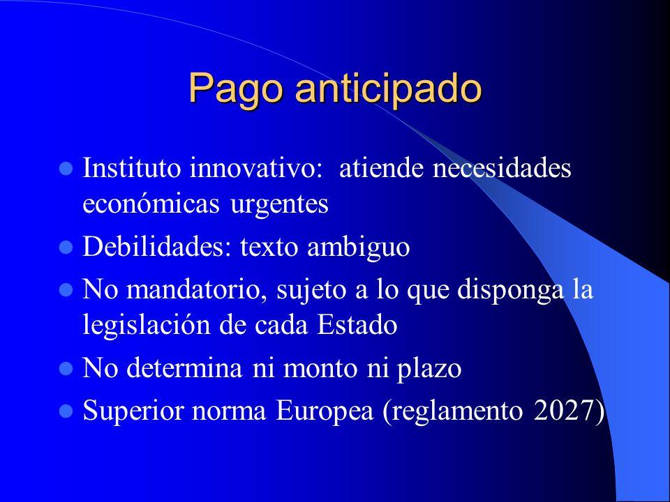 Pago anticipado Instituto innovativo: atiende necesidades económicas urgentes Debilidades: texto ambiguo No mandatorio, sujeto a lo que disponga la le
