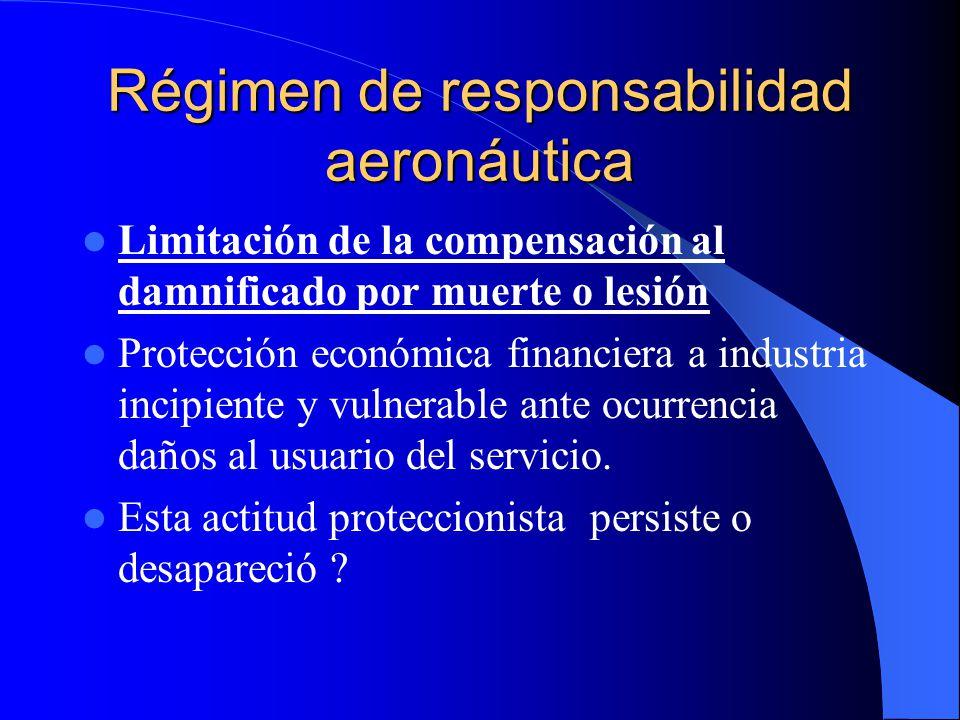 Régimen de responsabilidad aeronáutica Limitación de la compensación al damnificado por muerte o lesión Protección económica financiera a industria in