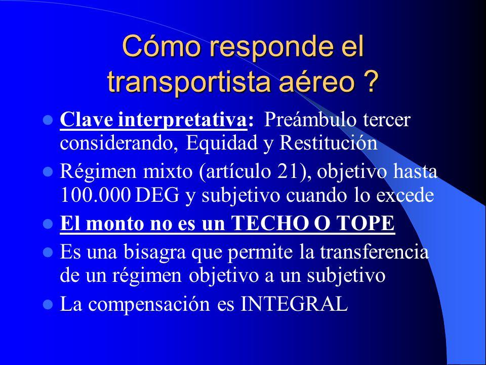 Cómo responde el transportista aéreo ? Clave interpretativa: Preámbulo tercer considerando, Equidad y Restitución Régimen mixto (artículo 21), objetiv