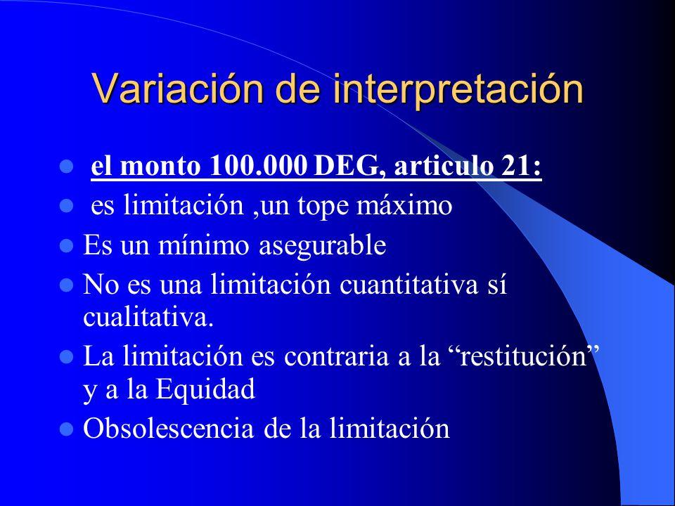 Variación de interpretación el monto 100.000 DEG, articulo 21: es limitación,un tope máximo Es un mínimo asegurable No es una limitación cuantitativa