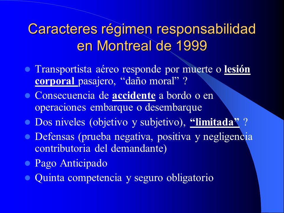 Caracteres régimen responsabilidad en Montreal de 1999 Transportista aéreo responde por muerte o lesión corporal pasajero, daño moral ? Consecuencia d