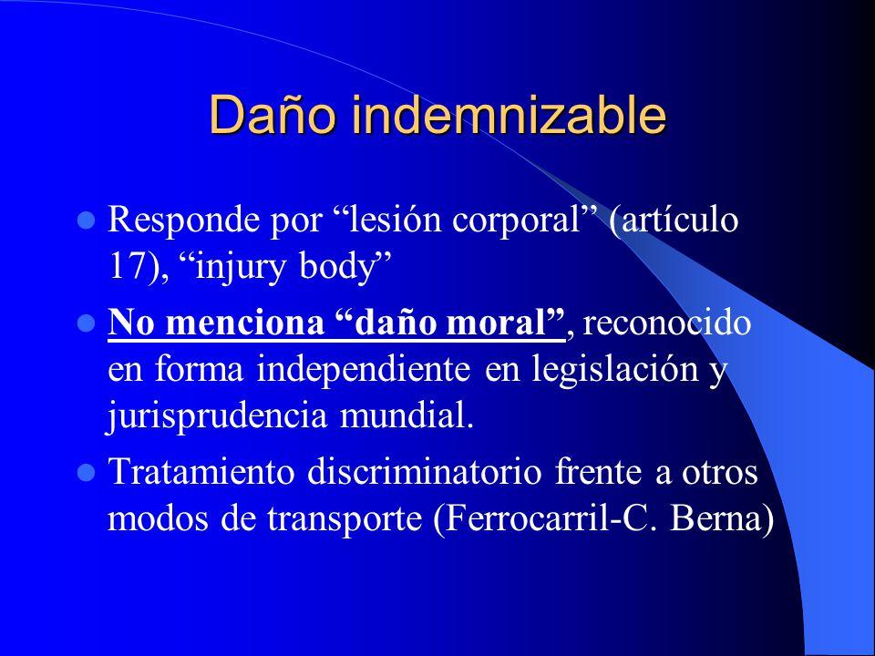 Daño indemnizable Responde por lesión corporal (artículo 17), injury body No menciona daño moral, reconocido en forma independiente en legislación y j