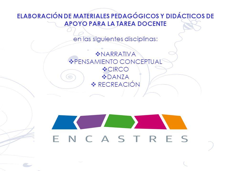 ELABORACIÓN DE MATERIALES PEDAGÓGICOS Y DIDÁCTICOS DE APOYO PARA LA TAREA DOCENTE en las siguientes disciplinas: NARRATIVA PENSAMIENTO CONCEPTUAL CIRC