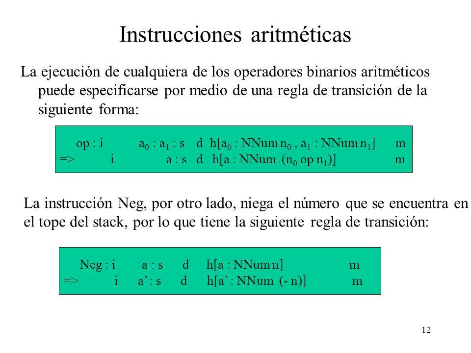 11 Instrucciones del evaluador (2) La instrucción Eval salva el resto del stack ( s ) y el resto de las instrucciones ( i ) como un item del dump.