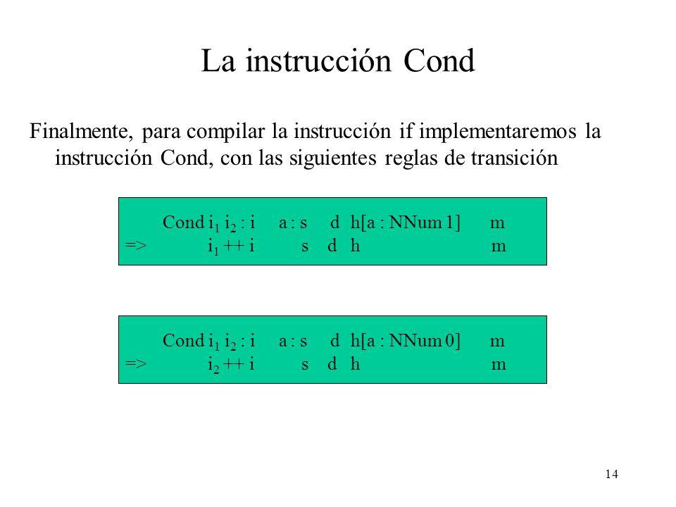 13 Comparación Los operadores de comparación también pueden especificarse con una regla de transición genérica: op : i a 0 : a 1 : s d h[a 0 : NNum n 0, a 1 : NNum n 1 ] m => i a : s d h[a : NNum (n 0 op n 1 )] m Notar que esta regla es similar a la de los operadores aritméticos.
