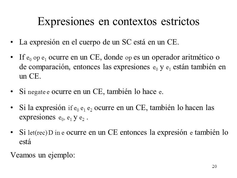 19 La solución (2) Observación: cuando sea que se quiera instanciar un supercombinador es porque interesa reducir su valor a WHNF.