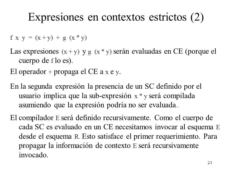 20 Expresiones en contextos estrictos La expresión en el cuerpo de un SC está en un CE.