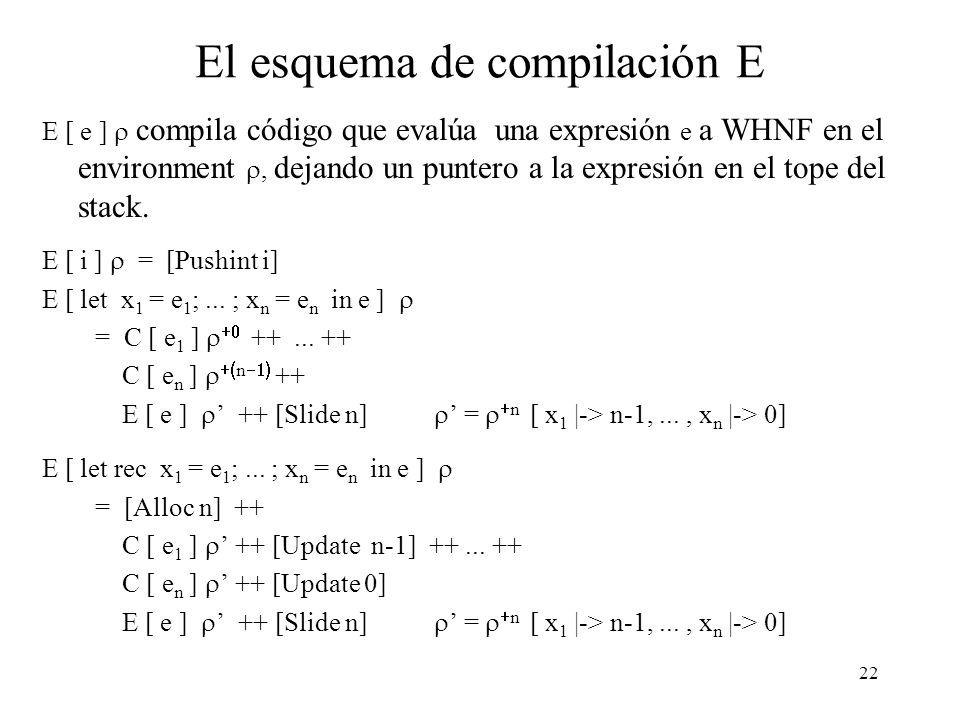 21 Expresiones en contextos estrictos (2) f x y = (x + y) + g (x * y) Las expresiones (x + y) y g (x * y) serán evaluadas en CE (porque el cuerpo de f lo es).