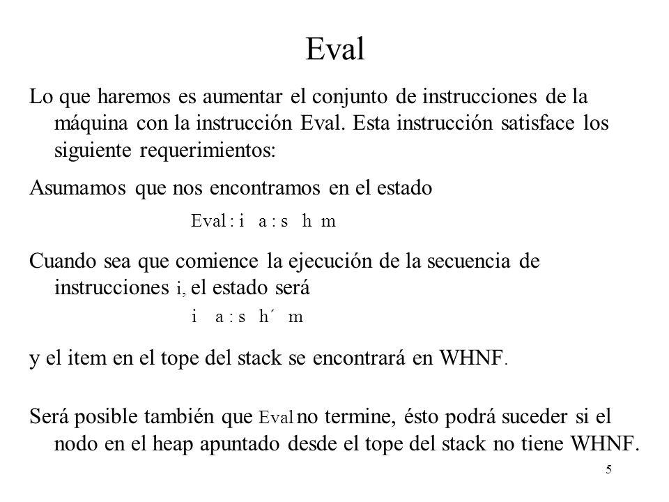 4 La instrucción Add (2) Como estamos implementando una máquina perezosa no es correcto asumir que los argumentos de una operación primitiva están en WHNF.