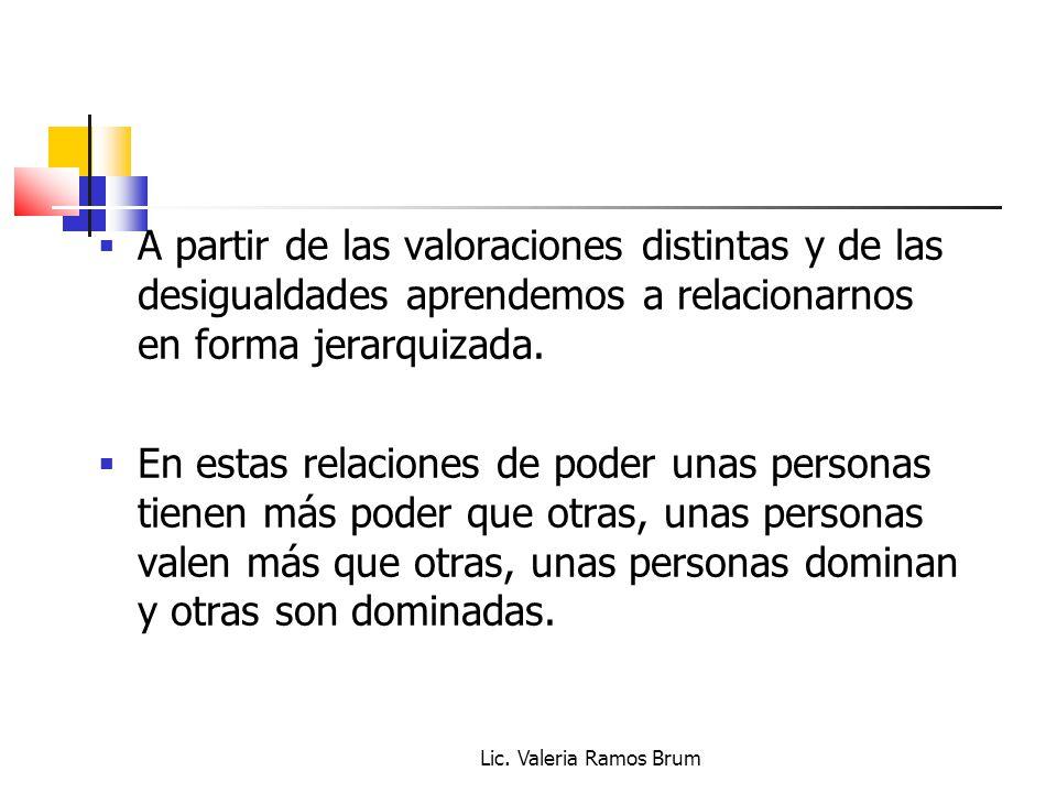 Lic. Valeria Ramos Brum A partir de las valoraciones distintas y de las desigualdades aprendemos a relacionarnos en forma jerarquizada. En estas relac