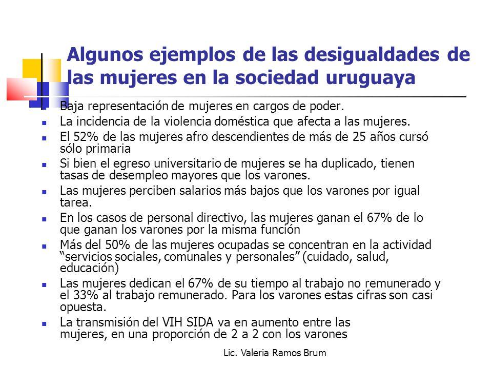 Lic. Valeria Ramos Brum Algunos ejemplos de las desigualdades de las mujeres en la sociedad uruguaya Baja representación de mujeres en cargos de poder