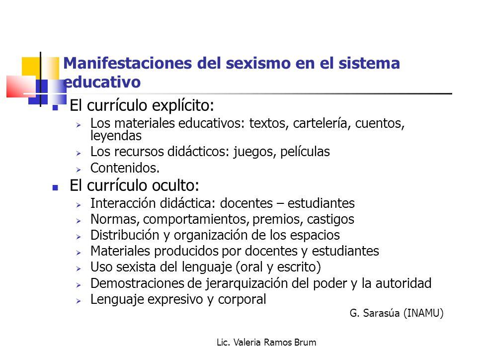 Lic. Valeria Ramos Brum Manifestaciones del sexismo en el sistema educativo El currículo explícito: Los materiales educativos: textos, cartelería, cue