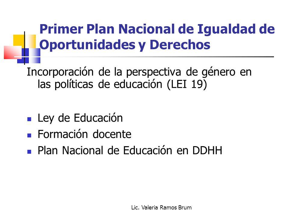 Lic. Valeria Ramos Brum Primer Plan Nacional de Igualdad de Oportunidades y Derechos Incorporación de la perspectiva de género en las políticas de edu