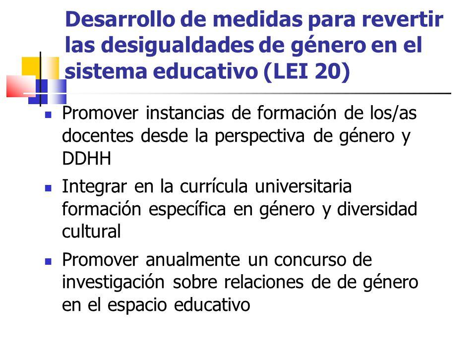 Desarrollo de medidas para revertir las desigualdades de género en el sistema educativo (LEI 20) Promover instancias de formación de los/as docentes d