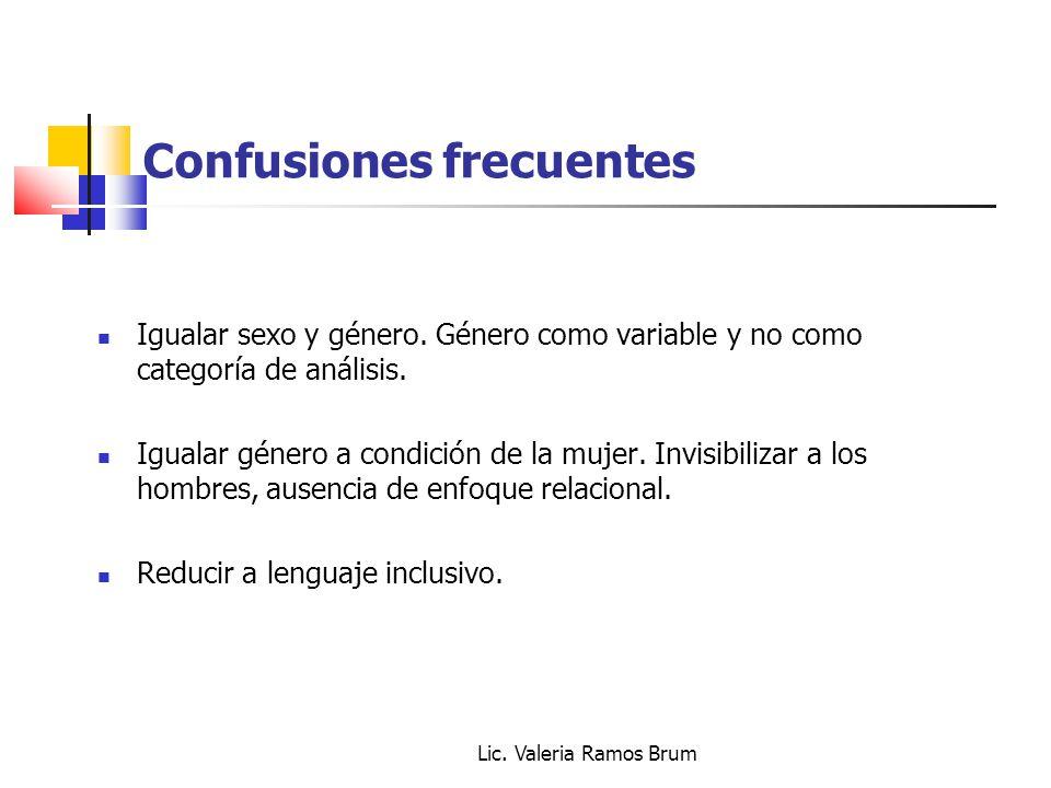 Lic. Valeria Ramos Brum Confusiones frecuentes Igualar sexo y género. Género como variable y no como categoría de análisis. Igualar género a condición