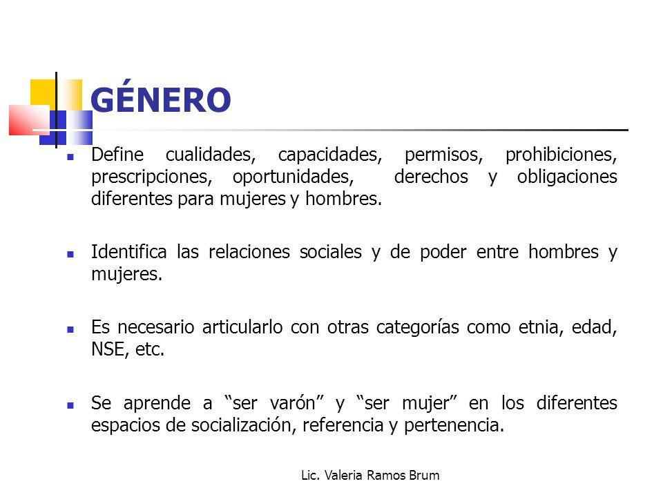 Lic. Valeria Ramos Brum GÉNERO Define cualidades, capacidades, permisos, prohibiciones, prescripciones, oportunidades, derechos y obligaciones diferen