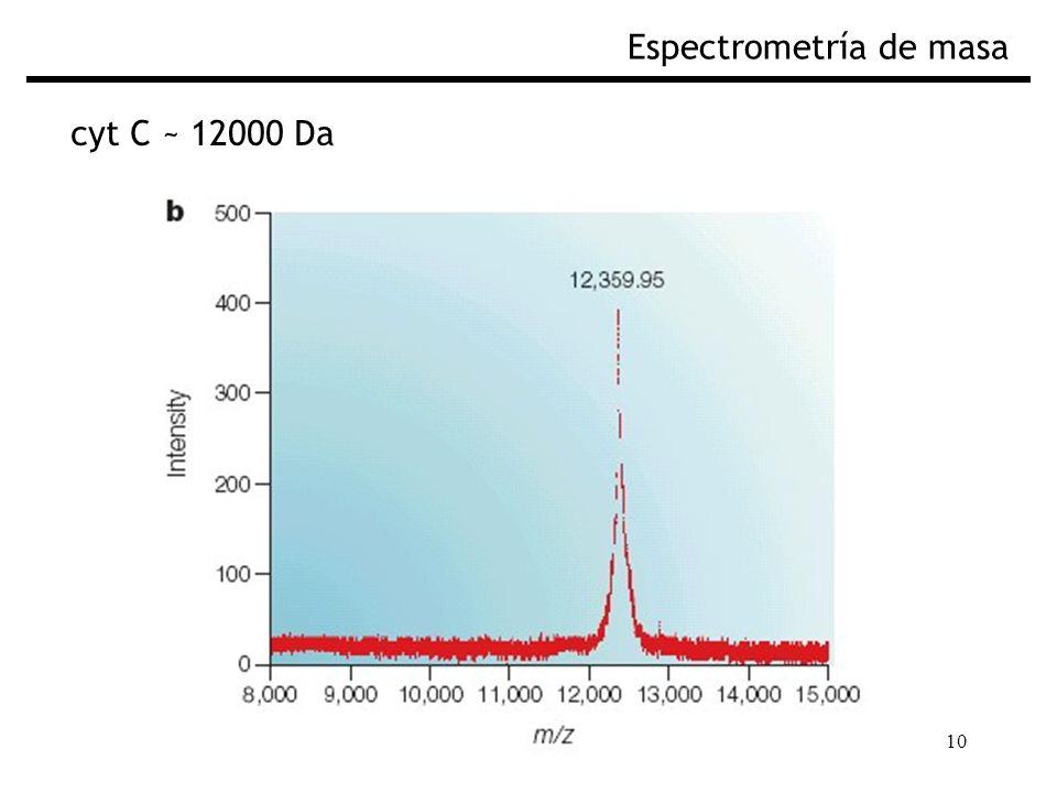10 Espectrometría de masa cyt C ~ 12000 Da