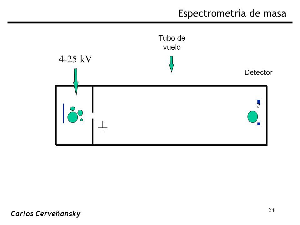 24 Tubo de vuelo Detector 4-25 kV Espectrometría de masa Carlos Cerveñansky