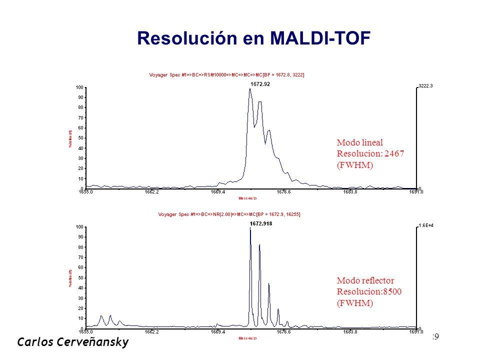 29 Modo lineal Resolucion: 2467 (FWHM) 1672.92 Modo reflector Resolucion:8500 (FWHM) Resolución en MALDI-TOF Carlos Cerveñansky