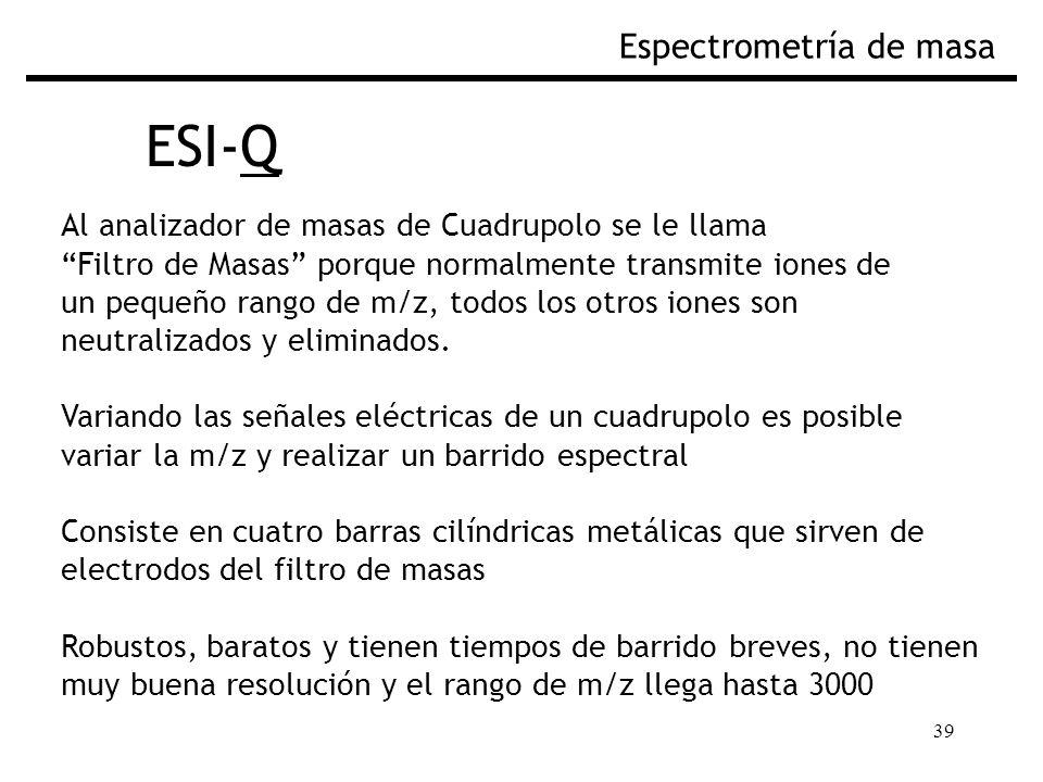 39 ESI-Q Espectrometría de masa Al analizador de masas de Cuadrupolo se le llama Filtro de Masas porque normalmente transmite iones de un pequeño rango de m/z, todos los otros iones son neutralizados y eliminados.