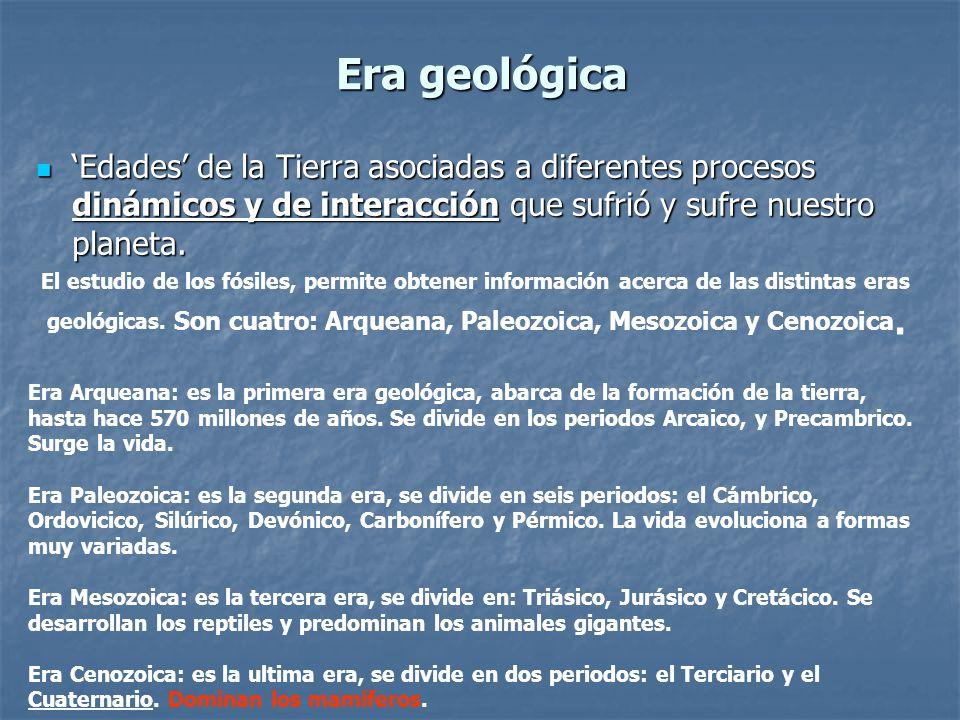 Era geológica Edades de la Tierra asociadas a diferentes procesos dinámicos y de interacción que sufrió y sufre nuestro planeta.
