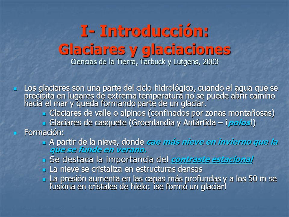 I- Introducción: Glaciares y glaciaciones Ciencias de la Tierra, Tarbuck y Lutgens, 2003 Los glaciares son una parte del ciclo hidrológico, cuando el agua que se precipita en lugares de extrema temperatura no se puede abrir camino hacia el mar y queda formando parte de un glaciar.