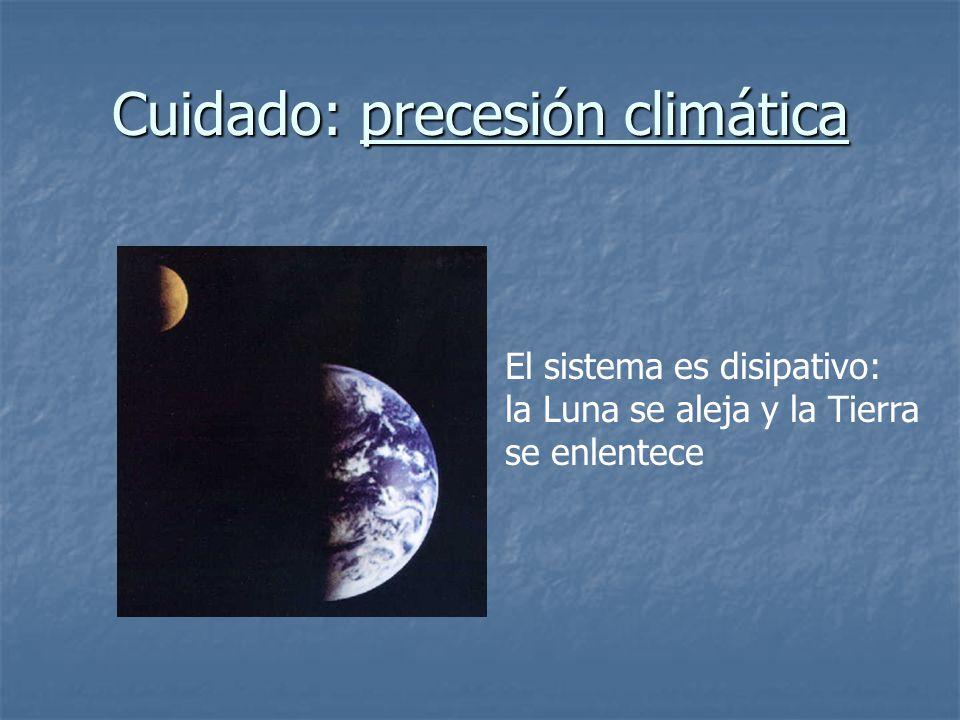 Cuidado: precesión climática El sistema es disipativo: la Luna se aleja y la Tierra se enlentece
