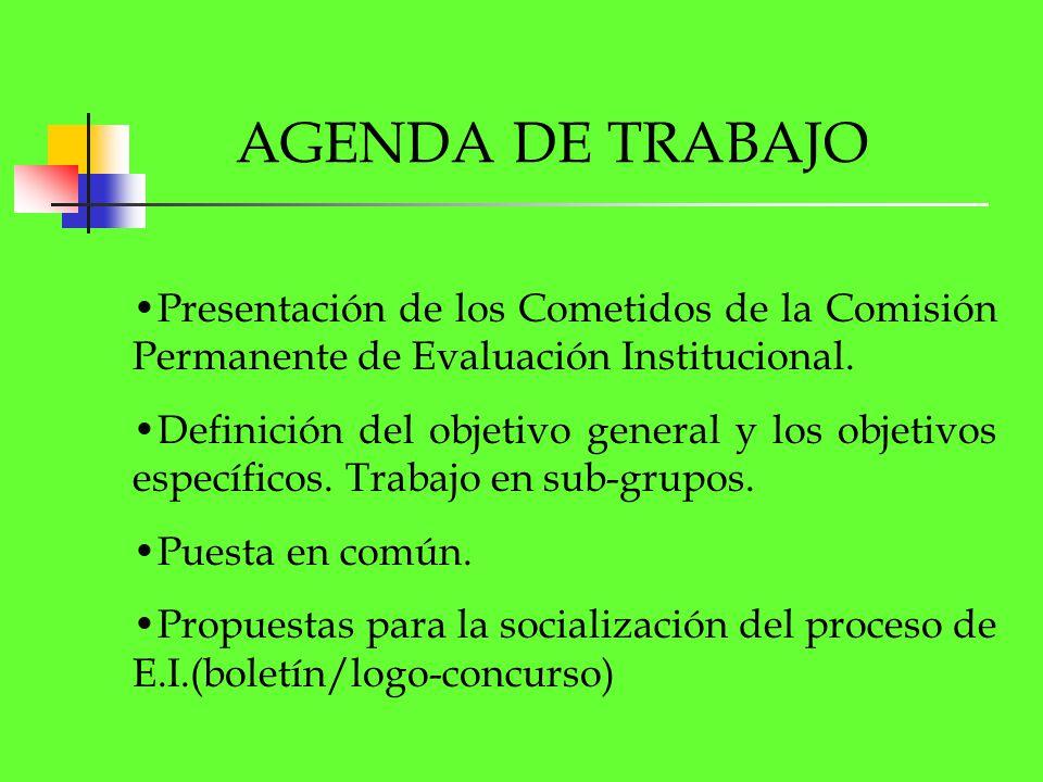 AGENDA DE TRABAJO Presentación de los Cometidos de la Comisión Permanente de Evaluación Institucional. Definición del objetivo general y los objetivos