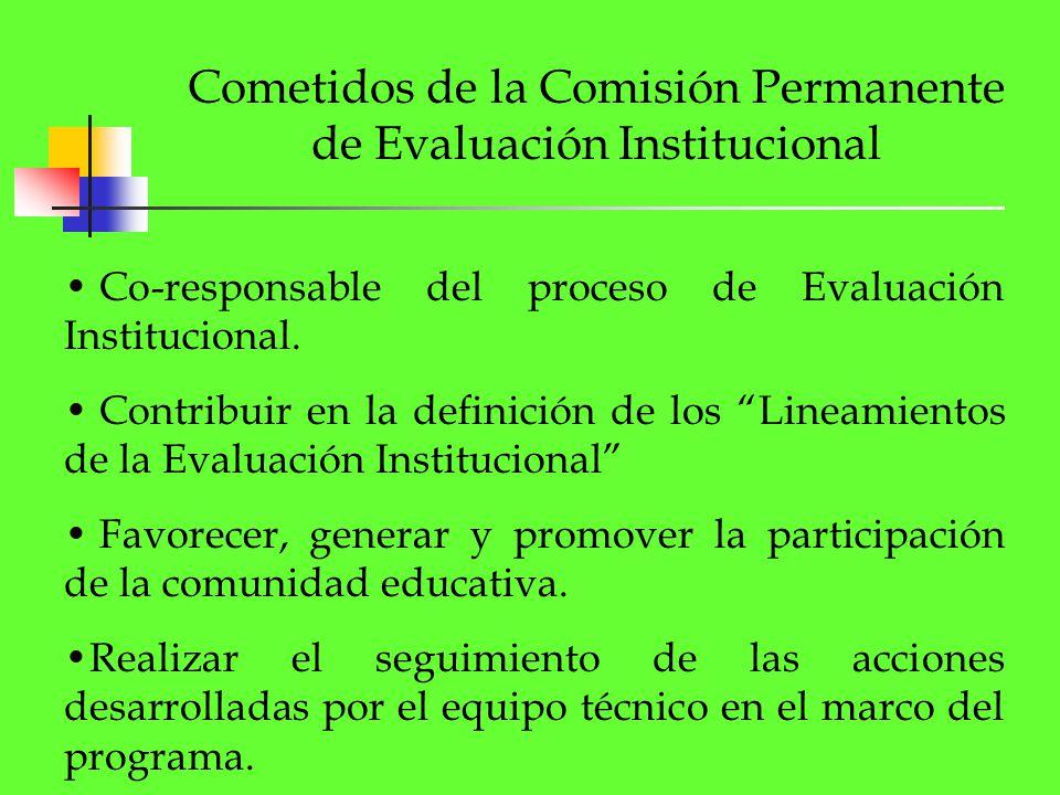Cometidos de la Comisión Permanente de Evaluación Institucional Co-responsable del proceso de Evaluación Institucional. Contribuir en la definición de