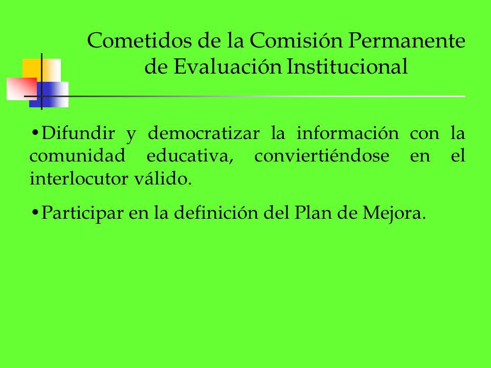 Cometidos de la Comisión Permanente de Evaluación Institucional Difundir y democratizar la información con la comunidad educativa, conviertiéndose en