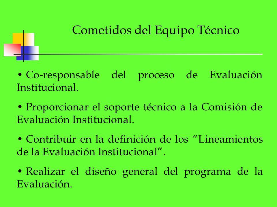 Cometidos del Equipo Técnico Co-responsable del proceso de Evaluación Institucional. Proporcionar el soporte técnico a la Comisión de Evaluación Insti