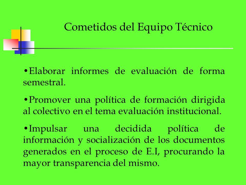 Cometidos del Equipo Técnico Elaborar informes de evaluación de forma semestral. Promover una política de formación dirigida al colectivo en el tema e