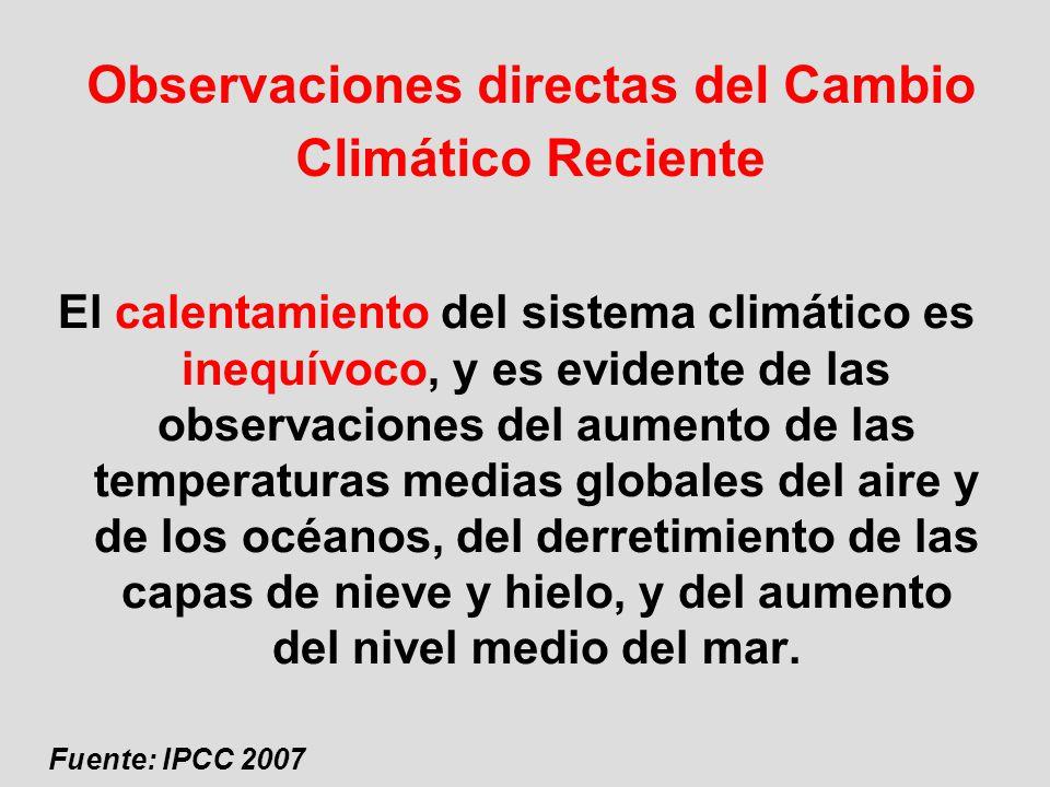 Observaciones directas del Cambio Climático Reciente El calentamiento del sistema climático es inequívoco, y es evidente de las observaciones del aume