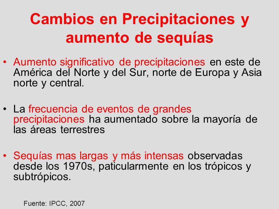 Cambios en Precipitaciones y aumento de sequías Aumento significativo de precipitaciones en este de América del Norte y del Sur, norte de Europa y Asi