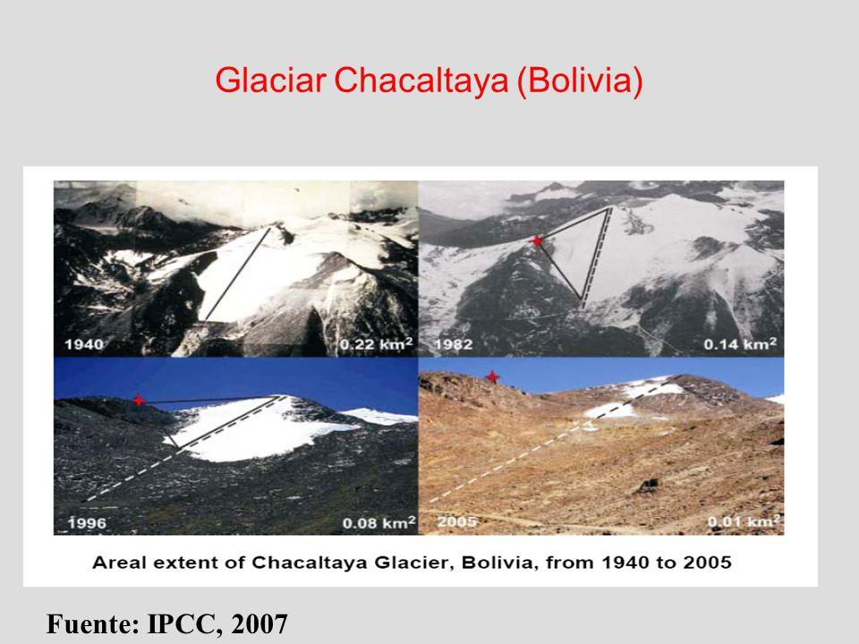 Glaciar Chacaltaya (Bolivia) Fuente: IPCC, 2007