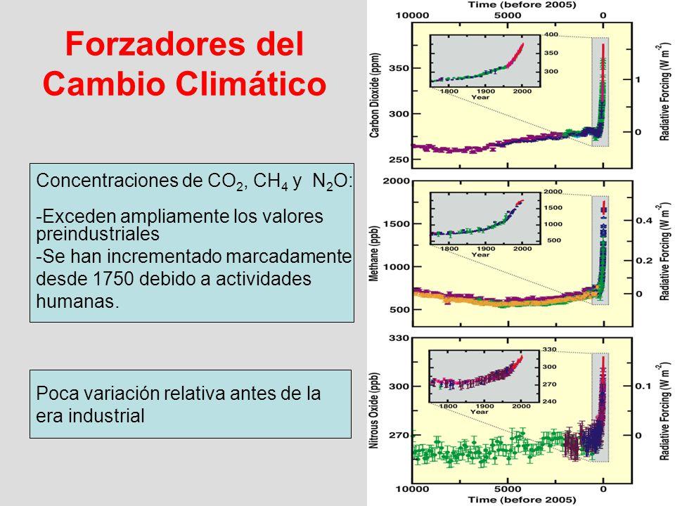 Concentraciones de CO 2, CH 4 y N 2 O: -Exceden ampliamente los valores preindustriales -Se han incrementado marcadamente desde 1750 debido a activida