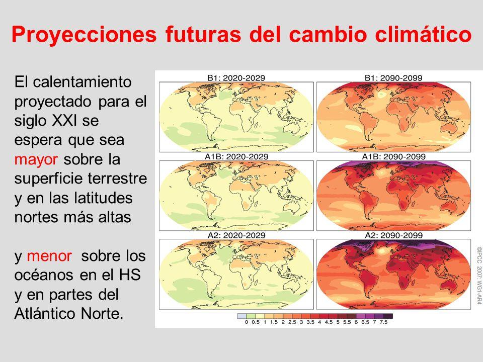 El calentamiento proyectado para el siglo XXI se espera que sea mayor sobre la superficie terrestre y en las latitudes nortes más altas y menor sobre
